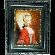 Reverse Glass Portrait Miniature in the manner of Jean Etienne Liotard