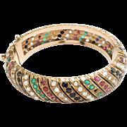 Vintage Bangle Bracelet 14kt Solid Gold Ruby Sapphire Diamond Pearls