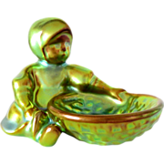 """SALE Zsolnay Figurine Little Girl with Basket Eosin Vintage from Hungary 3"""" H"""
