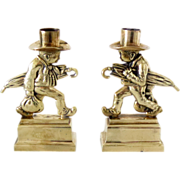 Brass Candlesticks Figural Early 20th C English Vintage