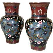 "SALE Antique Cloisonne Vases Pair Early Meiji Period Japanese 19 C 7"" H Vintage"