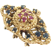 Vintage 14 Kt Yellow Gold Clasp with Sapphires and Rubies for 3 strands