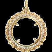 """Estate 18 Kt Solid Yellow Gold Coin Holder Frame Pendant 1-3/4"""" Vintage 7.4 g"""