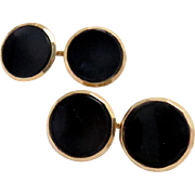 Vintage Cufflinks 14 Kt Gold Black Onyx , Larter & Sons Double Sided