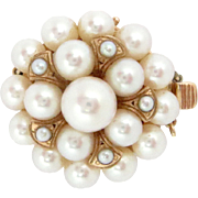 14 k Rose Gold Pearl Clasp with 23 Cultured Akoya Pearls Vintage