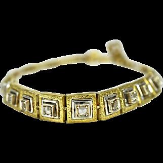 Victorian 18k Gold Silver Diamond Bracelet, Circa 1850-1870