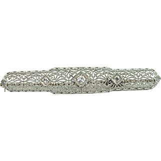 Art-Deco Filigree Antique Brooch with Old European Cut Diamonds in 14k Gold