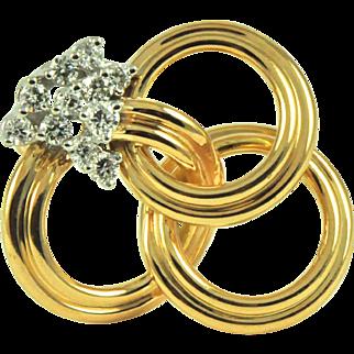 Vintage 18k Diamond 3 Inter-Woven Circles Brooch/ Pin. Circa 1960.