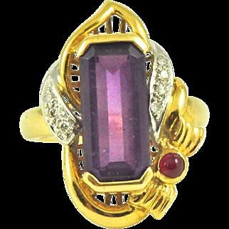 Vintage Amethyst Diamond Cocktail Ring in 18k Gold