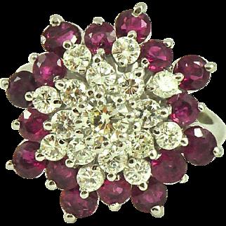 Vintage 2.65 ct  Ruby & Diamond Cluster Ring 14K Gold