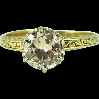 Vintage 1.25 ct Diamond Engagement in 14k Gold, circa 1920-30
