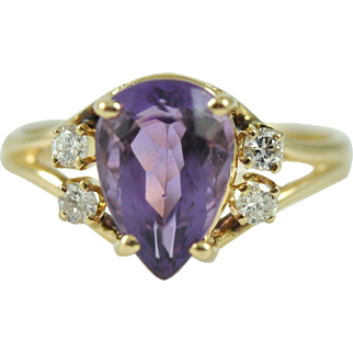 Vintage Colored Stone Diamond Ring in 14k Gold