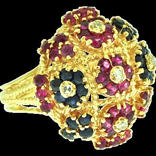 Circa 1900 Precious Gemstones Diamonds 14k Gold Ring