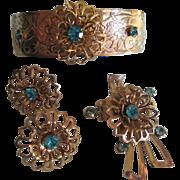 1960s Vintage Floral/Bow Parure- Aqua Marine Glass Stones- Brooch, Bracelet and Earrings