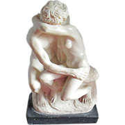 A. Santini Sculpture -The Kiss-  Ivory Colored Stone Resin