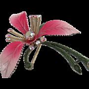 1955 Lisner Pink Enamel /Rhinestone Flower Brooch