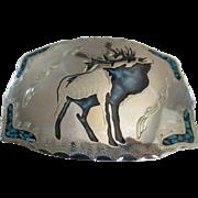 SOLD Silver Nickel /Turquoise Elk Belt Buckle