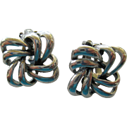 Pair of Silver 925 Knot Clip on Earrings