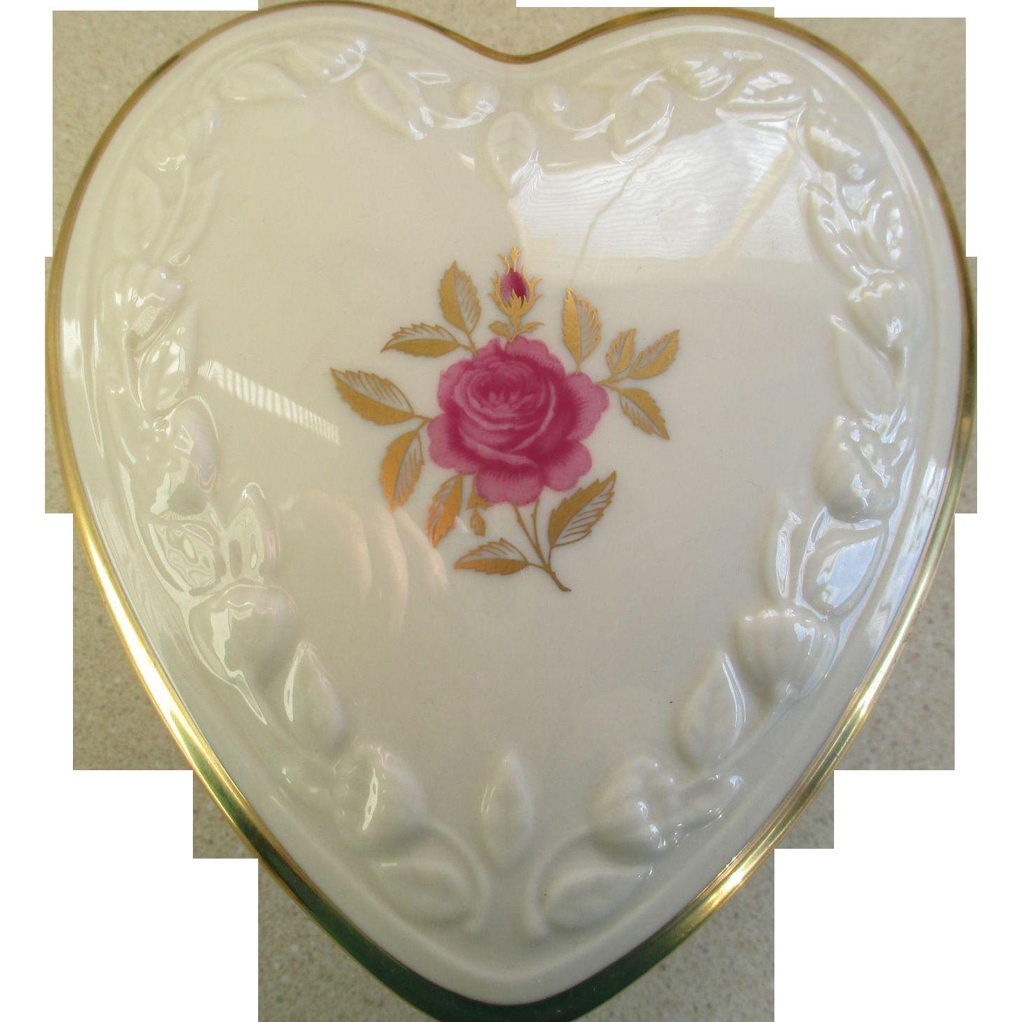 Lenox Heart Shaped Jewelry Trinket Box From