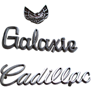 Vintage Chrome (3)Car Emblems-Cadillac/Galaxie/Trans Am
