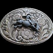 Vintage Nickel Silver Western Oval Belt Buckle