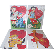 1940s-1950s Set of 4- Large Valentines Cards