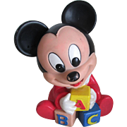 1980s Hard Rubber Squeaky Baby Micky Mouse