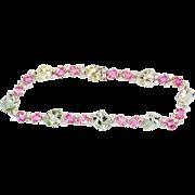 Twinkling 15.08ct t.w. Natural Green Aquamarine Beryl, Pink Sapphire & Diamond Bracelet 18