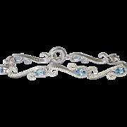 Estate Swirling 3.10ct t.w. Aquamarine & Diamond Bracelet 18k White Gold