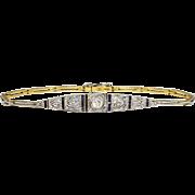 Rare 1920's .43ct t.w. Old European Rose Cut Diamond & Sapphire Bracelet 18k/Platinum