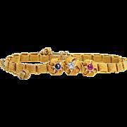 Victorian Old Mine Cut Diamond, Sapphire & Ruby Knot Bracelet 14k