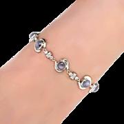 SALE Beautiful 1930's Rare Star Sapphire & Diamond Bracelet 10k