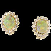 Phenomenal Estate 4.50ct t.w. Mystical Opal & Diamond Omega Back Earrings 18k
