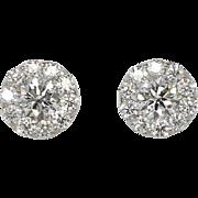SALE Estate 2ct t.w. Fulfillment Hearts On Fire Diamond Stud Earrings 18k