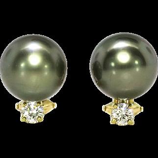 SALE Estate 11mm Black Tahitian Pearl & .30ct t.w. Diamond Earrings 18k