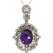 Vintage 1950's 4.10ct t.w. Amethyst, Rose Cut Diamond, Moonstone Pendant Sterling