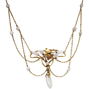 Romantic Art Nouveau Festoon Freshwater Baroque Pearl & Old European Cut Diamond Necklace 14k