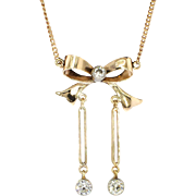 SALE Early 1900's .71ct t.w. Old European Cut Diamond Bow Motif Necklace 14k/10k