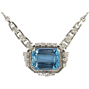 Glorious 1940's 16.61ct t.w. Aquamarine & Diamond Platinum Necklace Pendant
