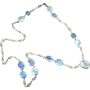 Antique Art Nouveau 1900's 30ct t.w. Moonstone Necklace Sterling Silver
