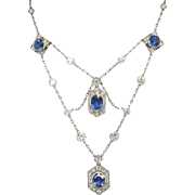 Vintage 1940's 9.60ct t.w. Natural Blue Sapphire & Diamond Festoon Necklace Platinum