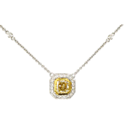 Lovely 1.16ct t.w. Radiant Cut Fancy Yellow Diamond & White Diamond Pendant 18k
