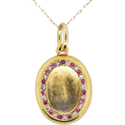 Antique .30ct t.w. Old Mine Cut Diamond & Natural Ruby Solid Gold Locket Pendant 18k/14k