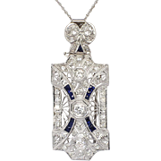 SALE Art Deco 1.33ct t.w. 1930's Old European Cut Diamond Sapphire Pendant ...