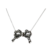 Sweet Rose Cut Vintage Diamond Bow Pendant Necklace 14k/SS