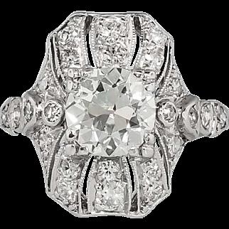 Edwardian 1920's 2.19ct t.w. Old European Cut Diamond Engagement Anniversary Ring Platinum