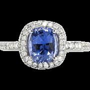 Beautiful 2.01ct t.w. Cornflower Blue Sapphire Diamond Halo Ring 18k