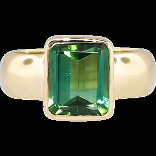 SALE Estate Rich Green 2.79ct Tourmaline Bezel Wide Ring 18k