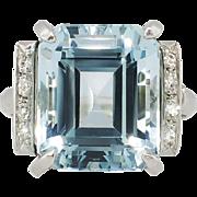 SALE Perfect 9.10ct t.w. 1940's Emerald Cut Aquamarine & Diamond Ring Platinum