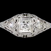 Elegant .22ct t.w. Art Deco Three Stone Old European Cut Diamond Filigree Engagement Ring ...